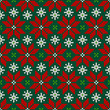 Poinsettia Red/Green/White Seamless Pattern Knitted