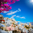 canvas print picture - art view of Fira town - Santorini
