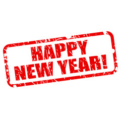 Happy New Year red stamp text
