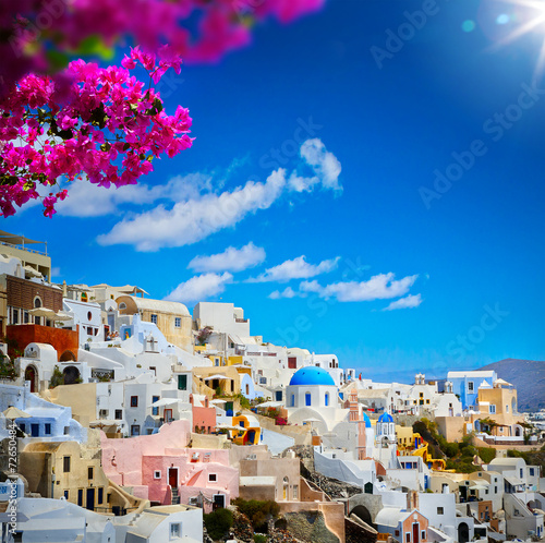 canvas print picture art view of Fira town - Santorini