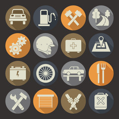 Auto service icons set. Colors plate