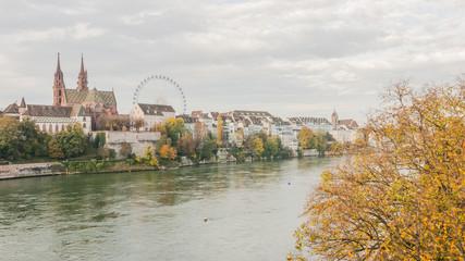 Basel, Altstadt, Rhein, Münster, Altstadthäuser, Herbst, Schweiz