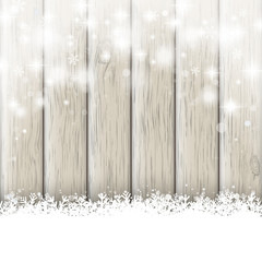 Snowfall Glitter Stars Ash Wooden Background