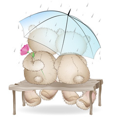 Two lovers bears sitting on a bench under an umbrella