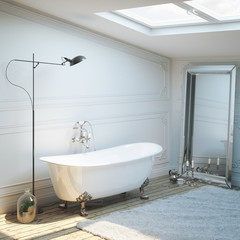 Vintage bathroom with mirror, carpet and lighting.