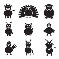 farm animals simple icons set eps10