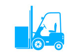 Blue forklift icon on white background - 72653803