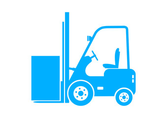 Blue forklift icon on white background