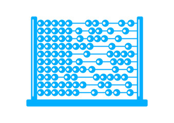 Blue abacus icon on white background