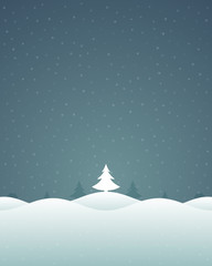 Christmas retro winter landscape and trees vector background