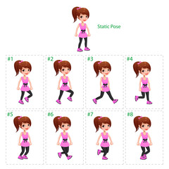 Animation of girl walking.