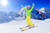 Skiing, winter sport - skier on mountainside