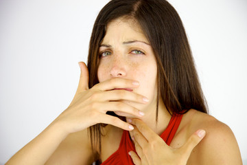 Woman with fever coughing in winter isolated