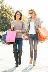 Two beautiful women in shopping