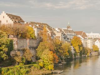 Basel, Altstadt, auf der Pfalz, Rhein, Herbst, Schweiz