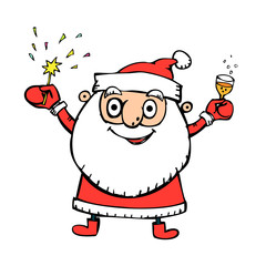 funny santa claus with firework