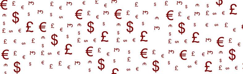 Znaczki walut EURO, DOLAR, FUNT