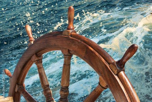 Steering wheel of old sailing vessel - 72655231