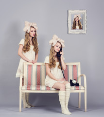 Girl doll in the three images simultaneously