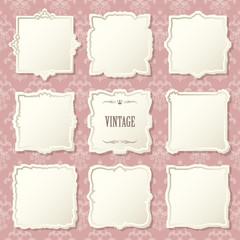 Luxury vintage frames set on damask.