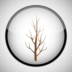 Dry tree in circle frame. Icon concept