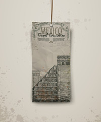 Temple in Mexico.  Hand drawn sketch vector illustration