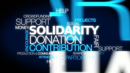 Solidarity donation contribution words text tag cloud