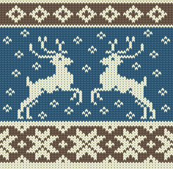 Cute knitting background with two reindeers and snowflakes