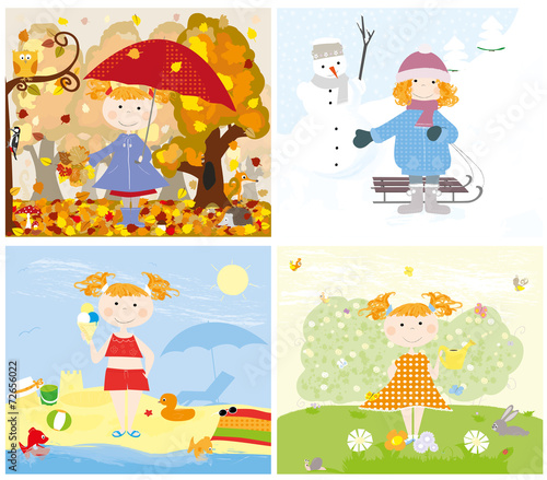 4 seasons and the child outside - vectors for kids - 72656022