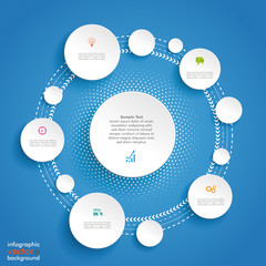 Circles Cycle Infographic Blue Background