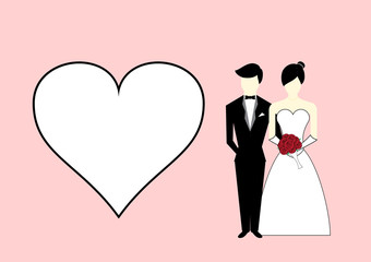 Bride and groom with heart on pink background. Vector Illustrati