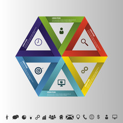 Infographic strategy in hexagon. Successful Business. Vector