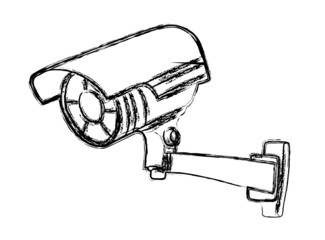 Black and White Surveillance Camera (CCTV) Warning Sign