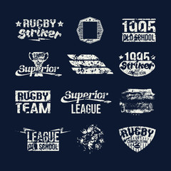 Set of badges college rugby team