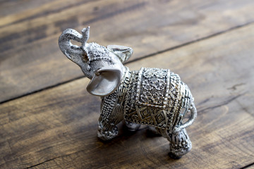 Indian Elephant Figurine on wooden table