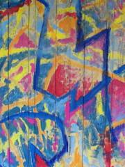 Graffiti Art on Wooden Surface