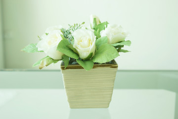 Bouquet of Artificial White Rose Flowers Decorated