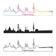 Hannover skyline linear style with rainbow