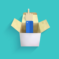 vector modern finger up with box