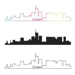 Essen skyline linear style with rainbow
