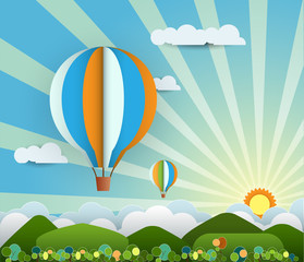 Abstract paper cut with sunshine,hill,cloud and balloon