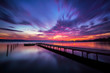 Magnificent long exposure lake sunset - 72659093