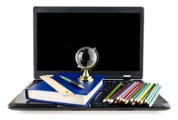 computer, books,pencils and a globe
