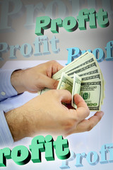 Hands counting money with 3d profit words