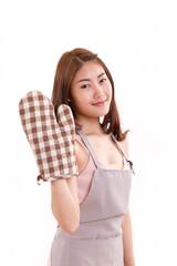 woman with mitten glove