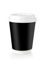 A Disposable Coffee Cup Whit Black Label  - Clipping Path