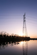 canvas print picture - high voltage transmittion tower and landscape