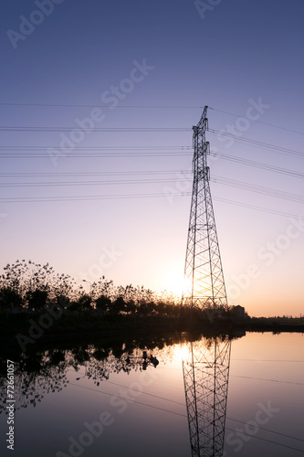 canvas print picture high voltage transmittion tower and landscape