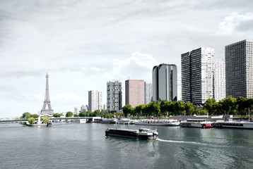 Paris, barge on the Seine and Eiffel tower