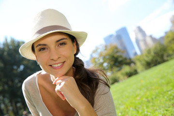 Portrait of trendy girl with hat in Central Park